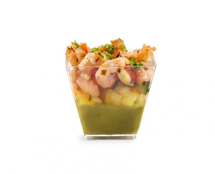 Shrimp, mango salsa & guacamole verrine