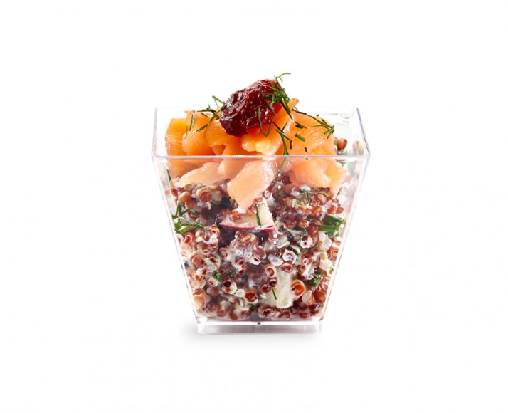 VERRINE OF SMOKED SALMON & QUINOA SALAD WITH DRIED CRANBERRIES, GREEN APPLE, CAPERS & SOUR CREAM